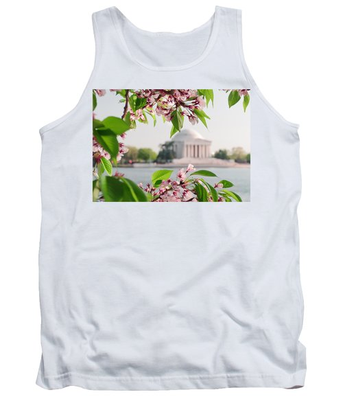 Tank Top featuring the photograph Cherry Blossoms And The Jefferson Memorial by Mitchell R Grosky