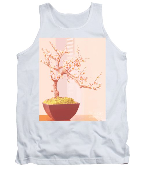 Tank Top featuring the painting Cherry Bonsai Tree by Marian Cates