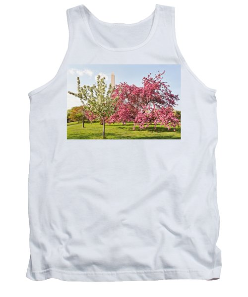 Cherry Trees And Washington Monument Three Tank Top by Mitchell R Grosky