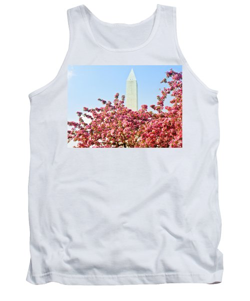 Cherry Trees And Washington Monument Two Tank Top by Mitchell R Grosky