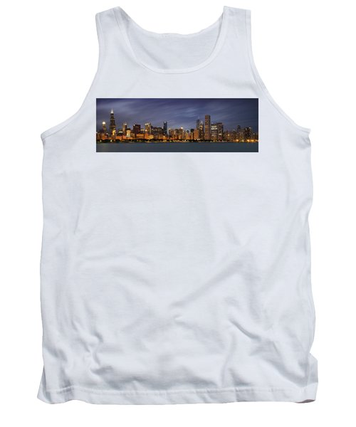 Chicago Skyline At Night Color Panoramic Tank Top