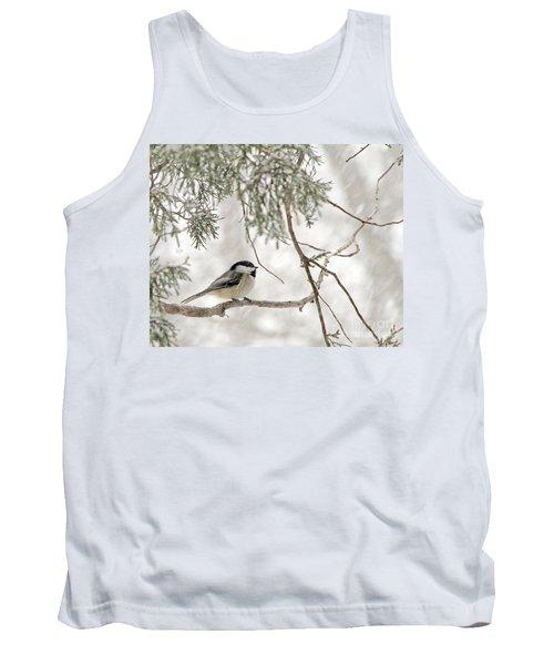Chickadee In Snowstorm Tank Top by Paula Guttilla