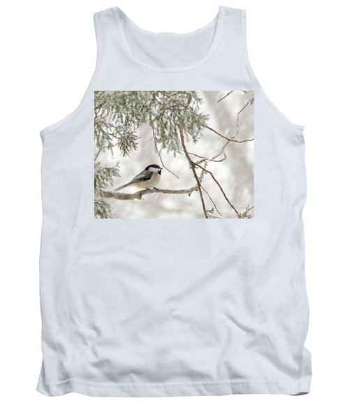 Chickadee In Snowstorm Tank Top