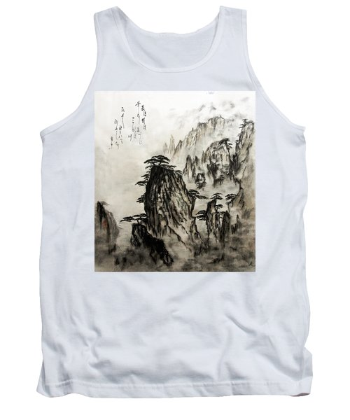 Tank Top featuring the painting Chinese Mountains With Poem In Ink Brush Calligraphy Of Love Poem by Peter v Quenter
