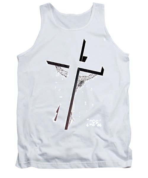 Tank Top featuring the drawing Christ On Cross by Justin Moore