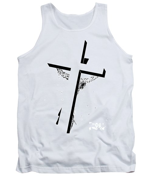Tank Top featuring the drawing Christ On The Cross by Justin Moore
