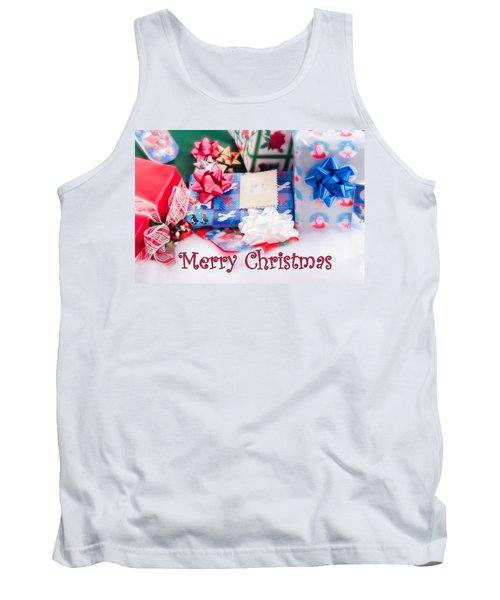 Tank Top featuring the photograph Christmas Presents On Artificial Snow by Vizual Studio