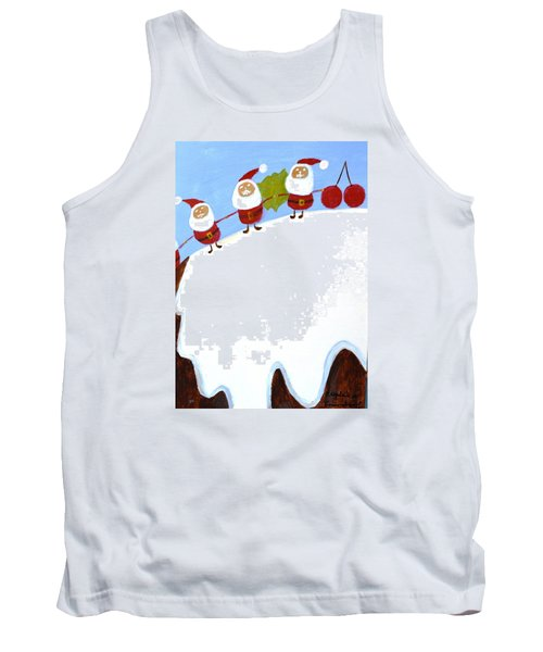 Tank Top featuring the painting Christmas Pudding And Santas by Magdalena Frohnsdorff