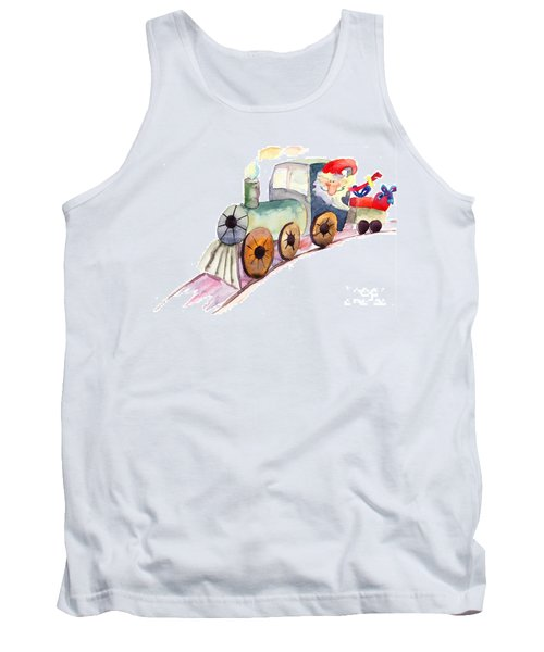 Christmas Train With Santa Claus Tank Top