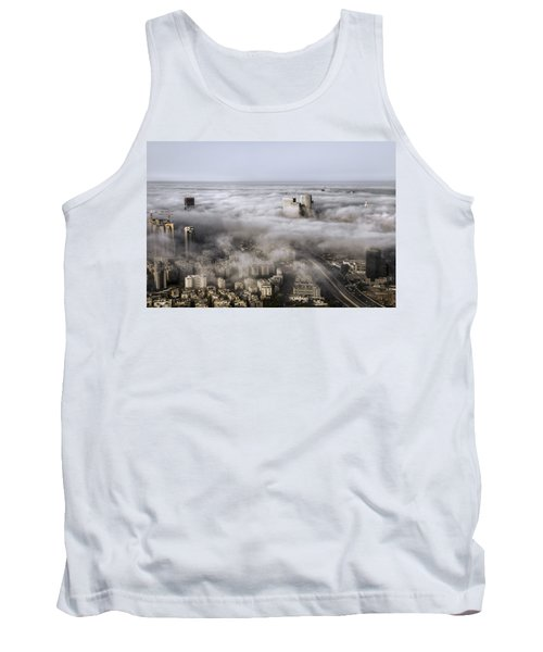 Tank Top featuring the photograph City Skyscrapers Above The Clouds by Ron Shoshani