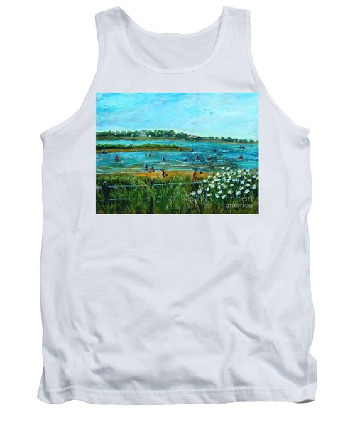 Tank Top featuring the painting Clam Diggers At Menauhant Beach by Rita Brown