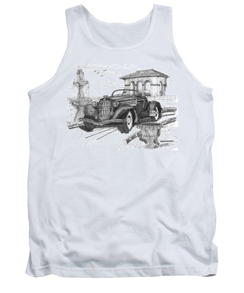 Classic Auto With Formal Gardens Tank Top