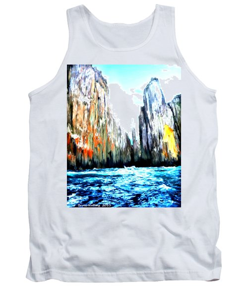 Tank Top featuring the painting Cliffs By The Sea by Bruce Nutting