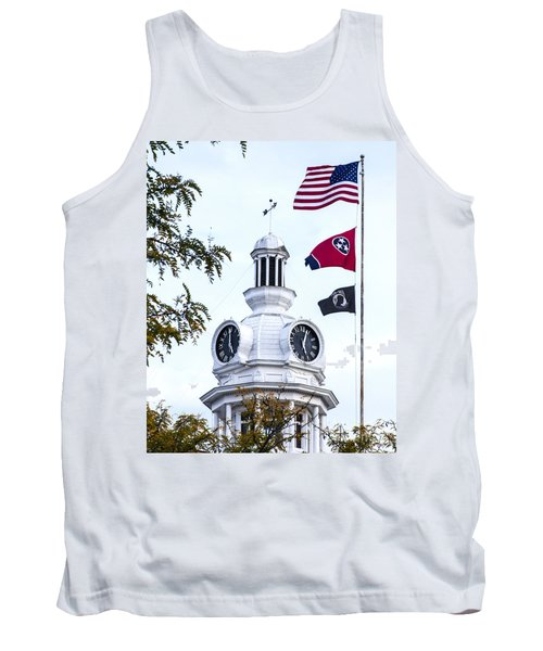 Clock Tower With Tennessee Mia Us Flag Art Tank Top