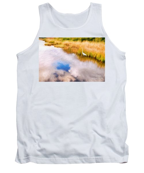 Cloud Reflection In Water Digital Art Tank Top