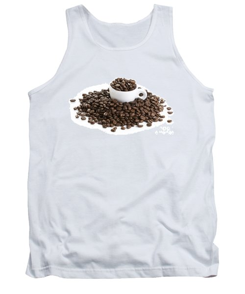 Tank Top featuring the photograph Coffee Beans And Coffee Cup Isolated On White by Lee Avison