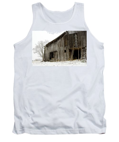 Tank Top featuring the photograph Cold Winter At The Barn  by Wilma  Birdwell