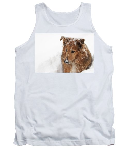Collie In The Snow Tank Top by Jeannette Hunt