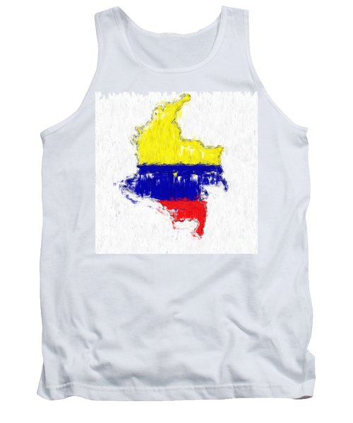 Colombia Painted Flag Map Tank Top