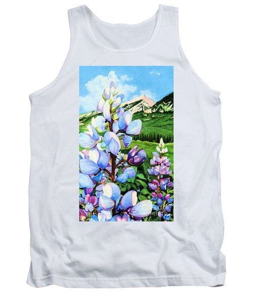 Tank Top featuring the painting Colorado Summer Blues Close-up by Barbara Jewell