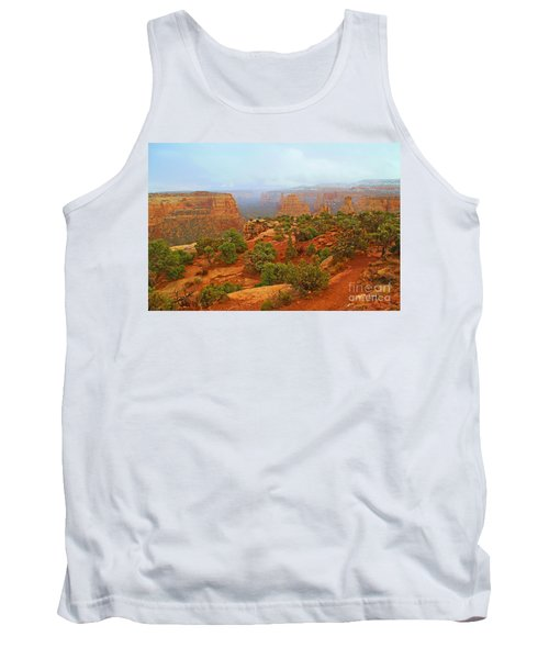 Colorado Natl Monument Snow Coming Down The Canyon Tank Top
