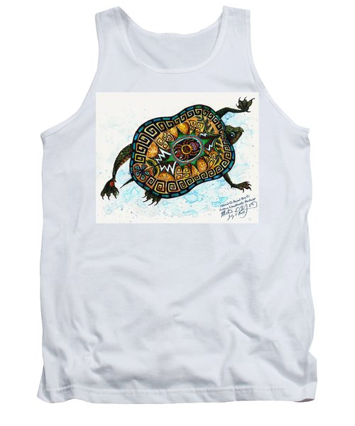 Colored Cultural Zoo C Eastern Woodlands Tortoise Tank Top by Melinda Dare Benfield