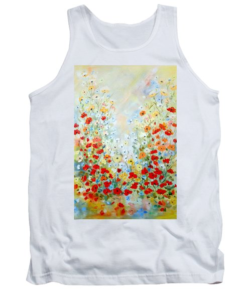 Colorful Field Of Poppies Tank Top by Dorothy Maier