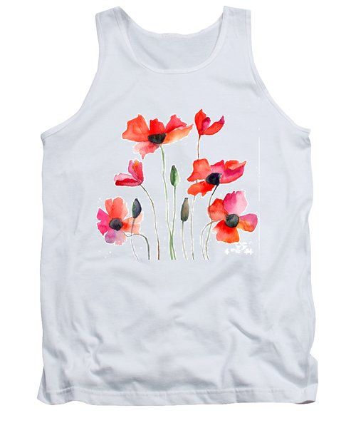 Colorful Red Flowers Tank Top