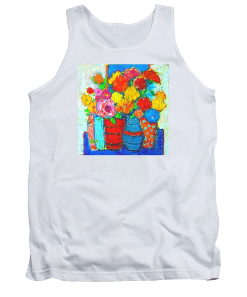 Colorful Vases And Flowers - Abstract Expressionist Painting Tank Top