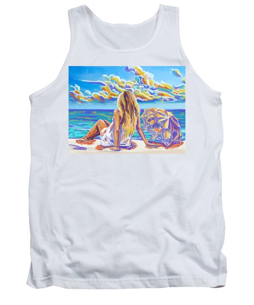 Colorful Woman At The Beach Tank Top