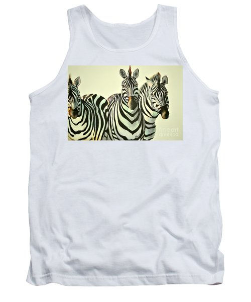 Tank Top featuring the painting Colorful Zebras Painting by Maja Sokolowska