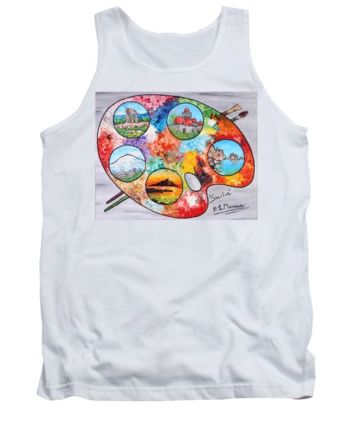 Tank Top featuring the painting Colori Di Sicilia by Loredana Messina