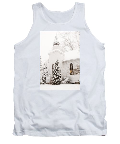 Tank Top featuring the photograph White Christmas In Maryland Usa by Vizual Studio