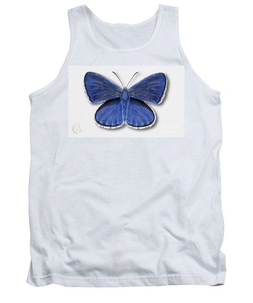 Common Blue Butterfly - Polyommatus Icarus Butterfly Naturalistic Painting - Nettersheim Eifel Tank Top