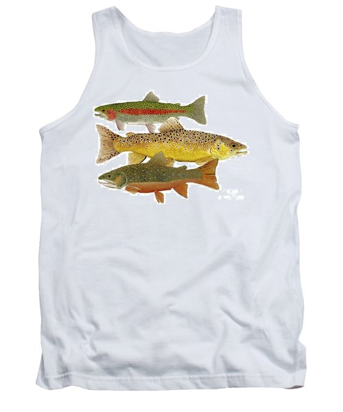 Tank Top featuring the painting Common Trout  Rainbow Brown And Brook by Thom Glace