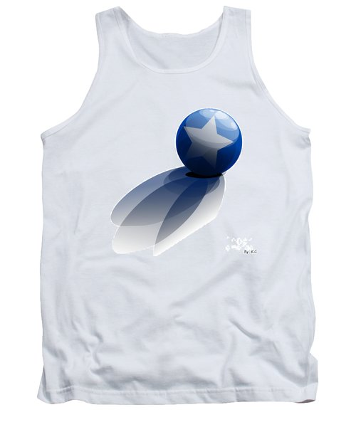 Tank Top featuring the digital art Blue Ball Decorated With Star Grass White Background by R Muirhead Art