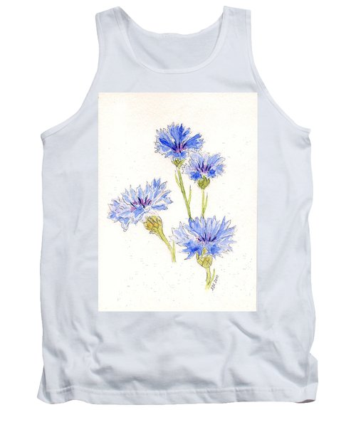 Tank Top featuring the painting Cornflowers by Stephanie Grant