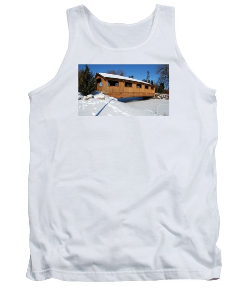 Covered Bridge Crossing The Stream Tank Top by Janice Adomeit