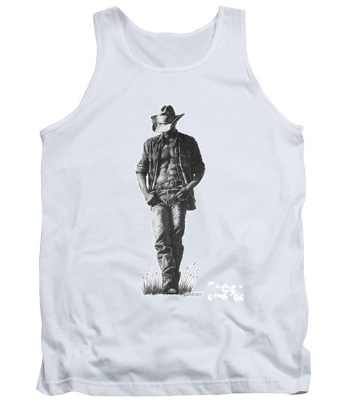 Tank Top featuring the drawing Cowboy by Marianne NANA Betts