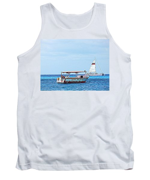 Tank Top featuring the photograph Cozumel Excursion Boats by Debra Martz