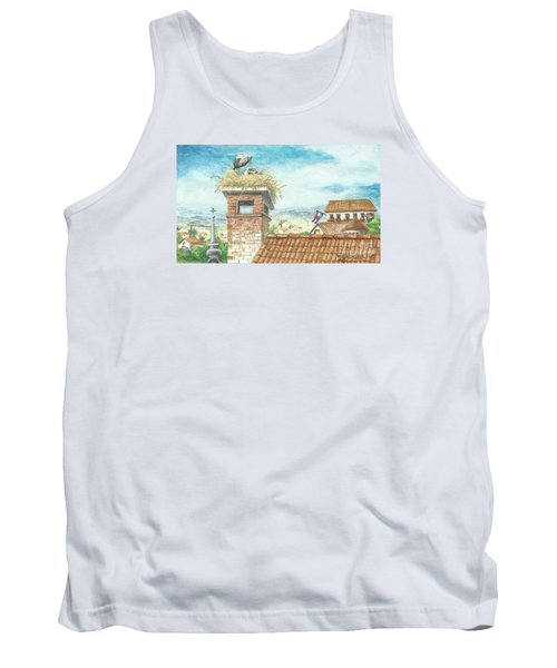 Tank Top featuring the painting Cranes In Croatia by Christina Verdgeline