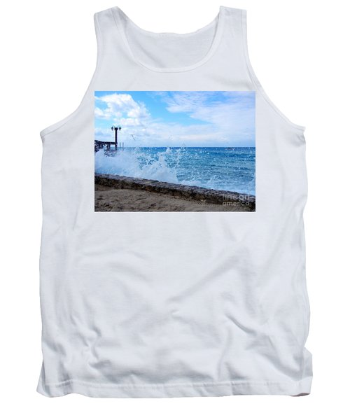 Tank Top featuring the photograph Crashing Waves In Cozumel by Debra Martz