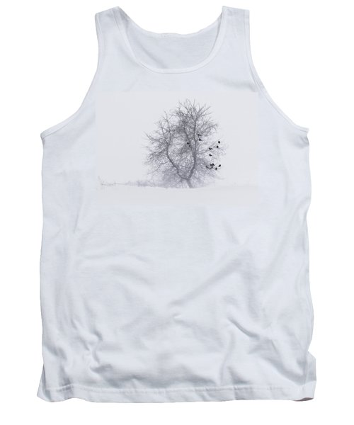 Crows On Tree In Winter Snow Storm Tank Top