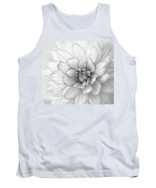Dahlia Flower Black And White Tank Top