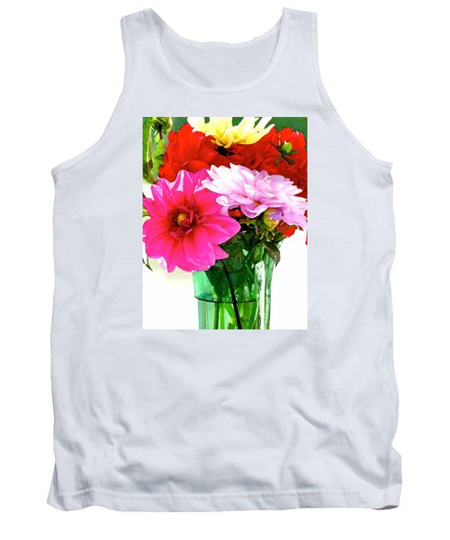 Tank Top featuring the photograph Dahlias In The Sun by Lehua Pekelo-Stearns