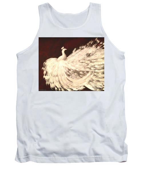 Tank Top featuring the painting Dancing Peacock Cream by Anita Lewis