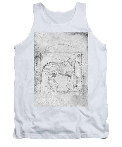 Da Vinci Horse Piaffe Grayscale Tank Top