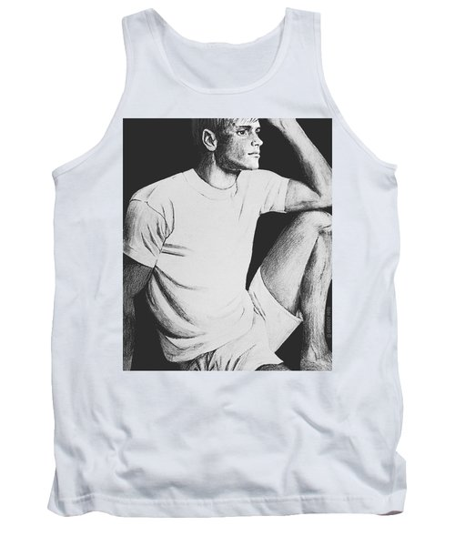 Tank Top featuring the drawing Daydreaming by Sophia Schmierer