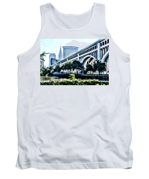 Tank Top featuring the photograph Detroit-superior Bridge - Cleveland Ohio - 1 by Mark Madere