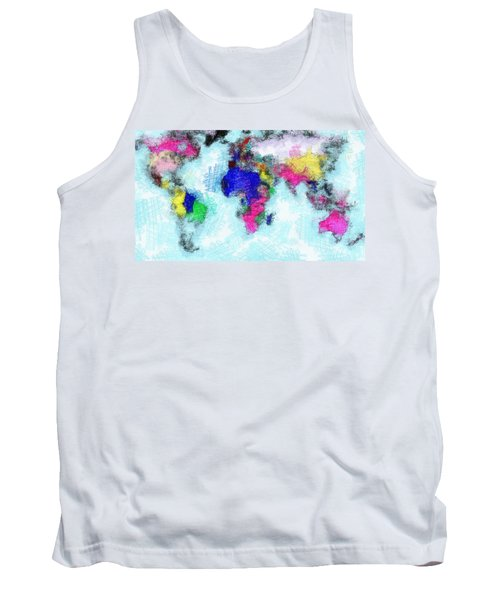 Digital Art Map Of The World Tank Top